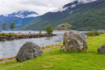 Scenic views of the fjord, Norway. Stock Photo