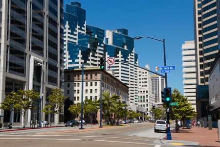 Modern towers in scenic downtown San Diego, California, USA Stock Photo