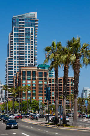 Modern towers and tall palm trees in scenic downtown San Diego, California, USA. Stock Photo
