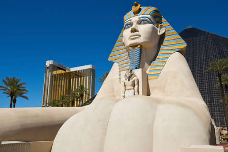 LAS VEGAS - JUNE 26 : Replica of Great Sphinx in front of Luxor Hotel and Casino, the most recognizable hotel on Vegas strip, because of its striking design, JUNE 26, 2013 in Las Vegas, Nevada, USA.