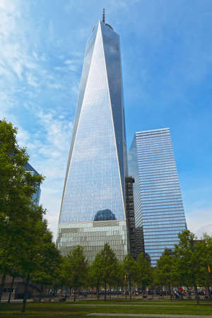 NEW YORK, NY - MAY 21, 2014: Freedom Tower, located in lower Manhattan, stands 1,776 feet tall on the site of the former World Trade Center. Editorial