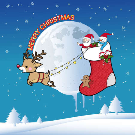 across: Santa Claus with reindeer flying across the sky on Christmas night Illustration