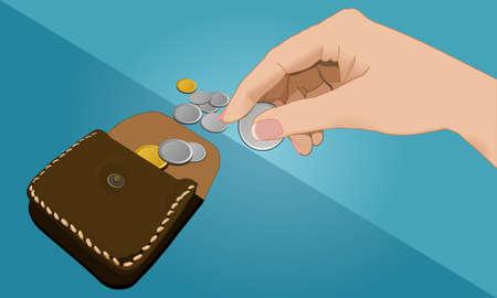Hand hält Münze und Brieftasche Standard-Bild - 50464313