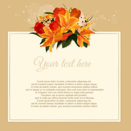 Grußkarte mit Blumen-Bouquet Standard-Bild - 50884404