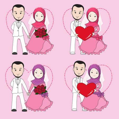 Moslim bruiloft paar, bruid en bruidegom houden elkaars hand met een blij gezicht. Stock Illustratie