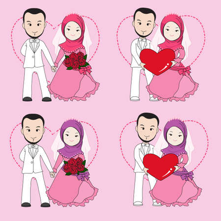 muslimah: Muslim wedding couple, bride and groom holding each others hand with happy face. Illustration