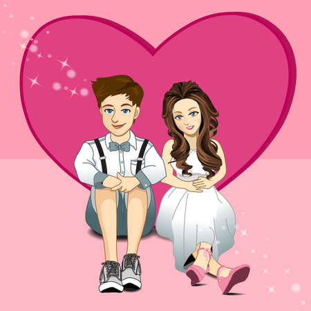 happy couple: Young couple sitting on floor with heart background