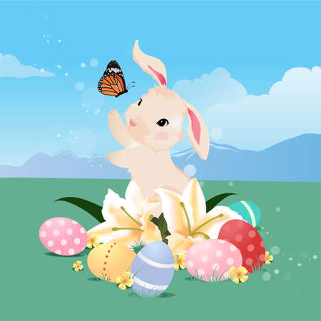 butterfly rabbit: Bunny rabbit playing with butterfly and Easter eggs.