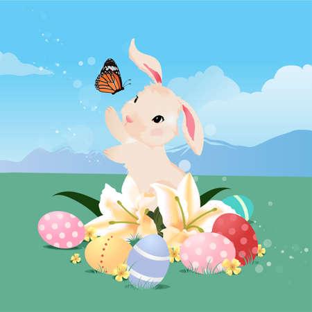 huevo caricatura: conejo de conejito que juega con la mariposa y huevos de Pascua. Vectores