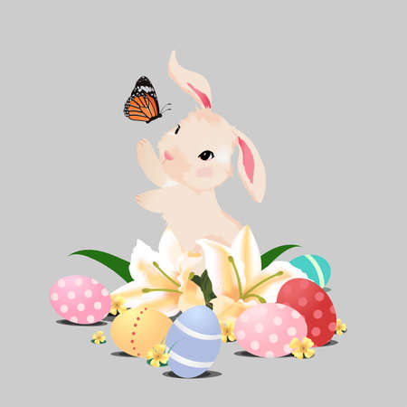 butterfly background: Bunny rabbit playing with butterfly and Easter eggs, isolated image Illustration