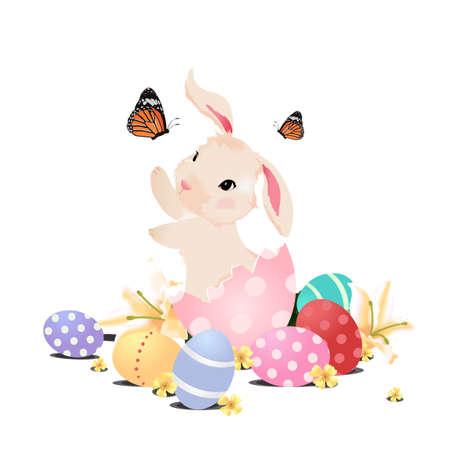 Häschen-Kaninchen im Ei spielt mit Schmetterling und Gras-Feld für Ostern, isoliert. Standard-Bild - 52577944