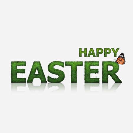 Grün Happy Easter Text aus Gras, isoliert Modus gemacht Standard-Bild - 52578067