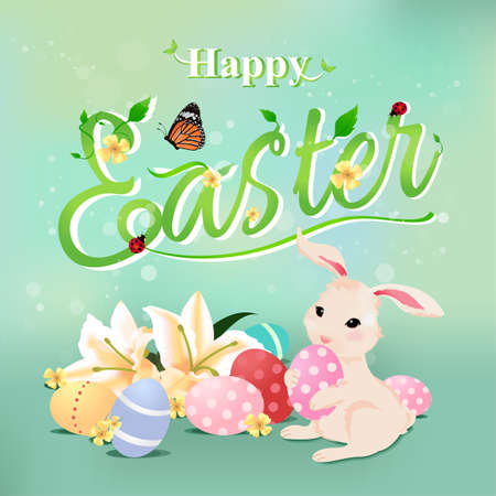 trees illustration: Happy Easter typographical background with bunny rabbit holding egg, flowers, butterfly, ladybug and vine.
