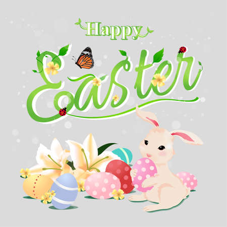 butterfly rabbit: Happy Easter typographical background with bunny rabbit holding egg, flowers, butterfly, ladybug and vine, isolated version.