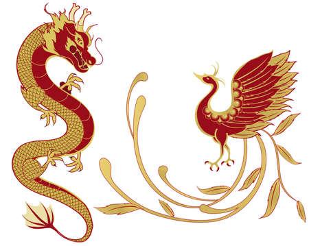 ドラゴンと中国の伝統的な結婚式および結婚、分離バージョンで象徴性のフェニックス