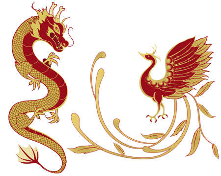 Dragon and phoenix for symbolism in traditional Chinese wedding and marriages, isolated version