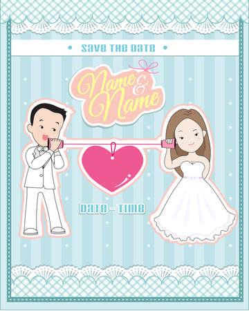 Hochzeitseinladungskarte, niedliche Paar im Gespräch über ein Schnurtelefon (Tasse oder Papier Telefon) Standard-Bild - 57049494