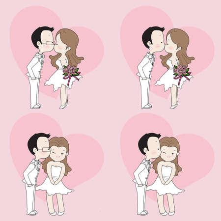 Hochzeit cartoon, niedlich Paar küssen im Hochzeitskleid Standard-Bild - 57049606