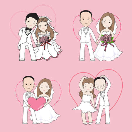 each: wedding cartoon, bride and groom holding each others hands with happy face