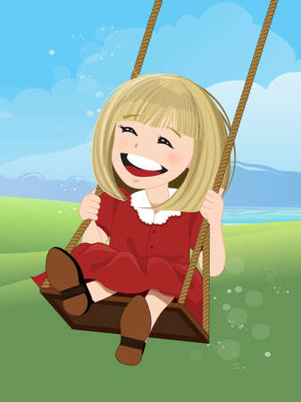 jovial: Jovial girl on a swing with happy face, illustration Illustration