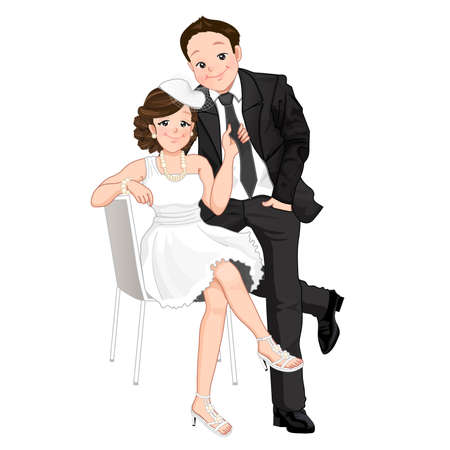 woman tie: Wedding cartoon,  woman sitting on chair and pulling on man tie with happy face, isolate mode.