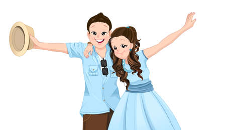 asian couple: Happy asian couple extend their arms with smiling,isolate mode on vacation and summer theme. Illustration