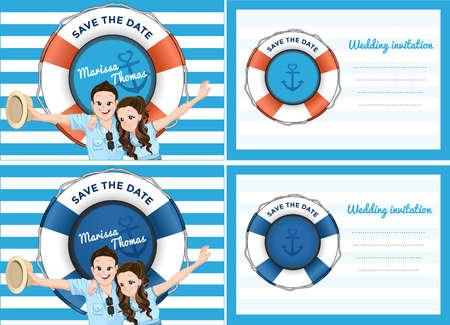 Hochzeitskarte Einladung im blauen Meer-Thema. Braut und Bräutigam im Cartoon-Stil erweitern ihre Arme mit lächelnd. Standard-Bild - 59850103