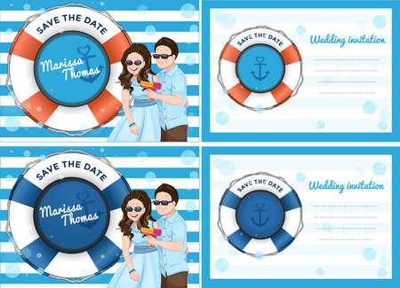 Hochzeitseinladungskarte mit paar Cartoon Spielseifenblasenpistolen in blau, das Meer und Boot-Thema. Standard-Bild - 60260114