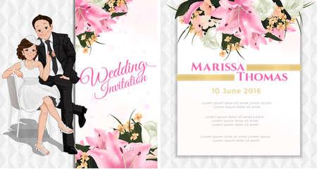 Hochzeit Cartoon Einladungskarte, Braut sitzt auf dem Stuhl und Ziehen an Mann Krawatte in weiß und rosa Blume Thema, Luxus und modernen Stil. Standard-Bild - 60260116