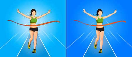 Die Abbildung Gewinner Vektor in Frau läuft Leichtathletik Spiel am Ziellinie Standard-Bild - 61301021