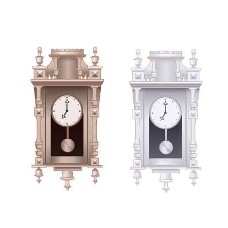 reloj de pendulo: ilustración del Antiguo reloj de péndulo del vector con el fondo blanco, aislado. Vectores
