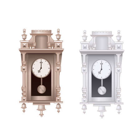 Old pendulum clock vector illustration with white background, isolated.