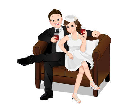 Happy young romantic couple vector cartoon sitting on sofa and drinking ,isolated mode. Vetores