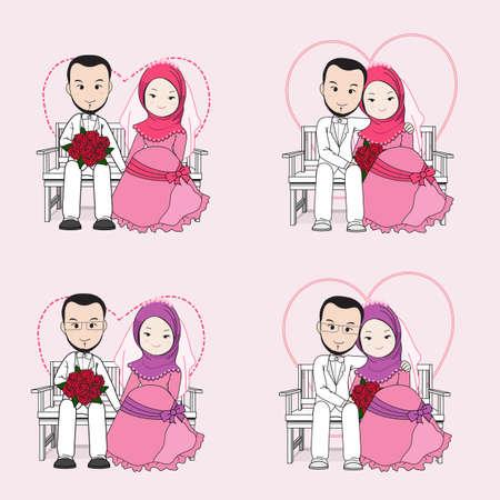 Muslimische Hochzeit Paar Vektor-Cartoon, Braut und Bräutigam auf einem Stuhl mit glücklichen Gesicht, Bräutigam umarmt Braut sitzt. Standard-Bild - 68963352