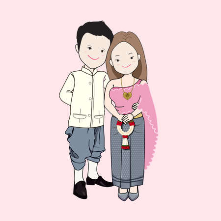 men and women: Wedding cartoon vector, bride and groom in Thai traditional dress. Woman holding a jasmine garland. Illustration