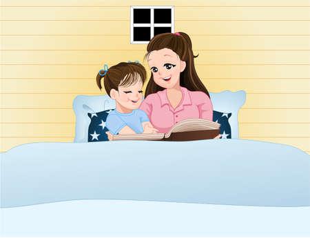 Mom erzählen Märchen, während ihre Tochter setzen zu Bett Zeit zu schlafen. Standard-Bild - 68871686