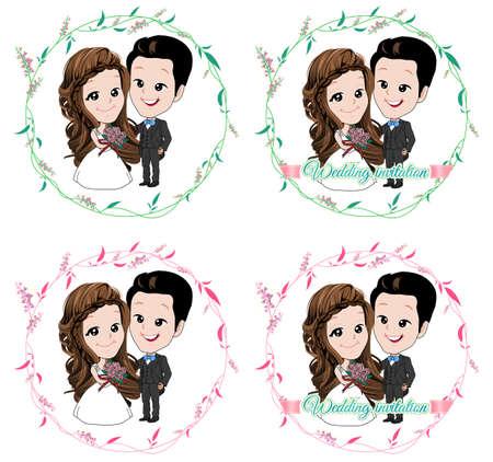 Hochzeit Cartoon, Braut und Bräutigam in floralen Wein Kreis mit lächelnd auf weißem Hintergrund Standard-Bild - 72600257
