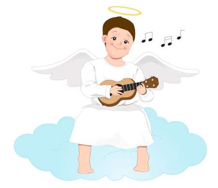 Happy Engel Mann sitzt auf einer Wolke und spielt die Gitarre auf weißem Hintergrund Standard-Bild - 76868129