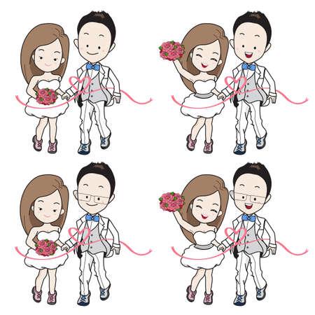 Hochzeitscartoon im laufenden Leichtathletik- und Sportthema an der Ziellinie. Braut und Bräutigam tragen Turnschuhe mit glücklichem Gesicht. Standard-Bild - 78025635