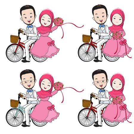 イスラム教徒の結婚式漫画、新郎の乗馬の自転車、白い背景の幸せそうな顔で花束を持って花嫁