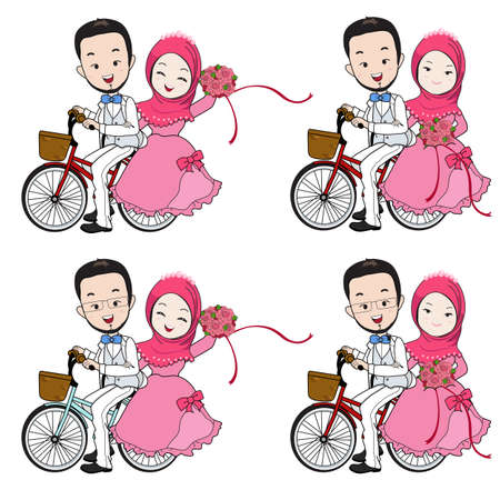 Muslim wedding cartoon, groom riding bicycle, bride holding flower bouquet with happy face on white background