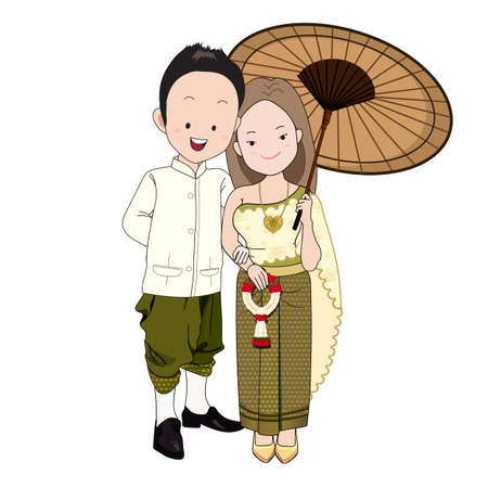 wedding cartoon vector, groom in thai traditional suit,bride holding vintage umbrella and thai garland.