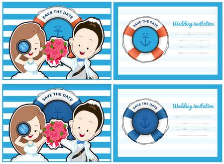 Hochzeitskarteneinladung im blauen Meer Thema. Braut und Bräutigam im Cartoon-Stil mit Blumenstrauß und erweitern ihre Arme mit Lächeln. Standard-Bild - 80728326