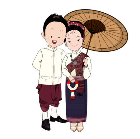 wedding cartoon vector, groom in north-east thai traditional suit,bride holding vintage umbrella and thai garland with happy face. Vector Illustration