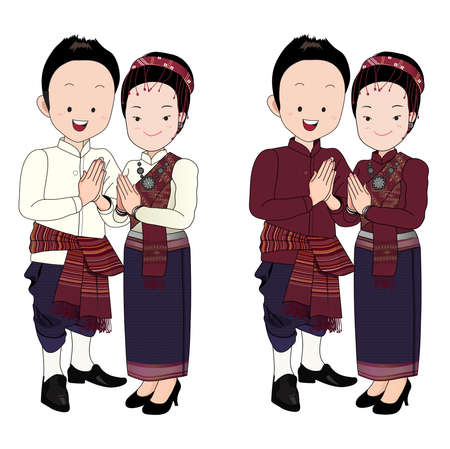 wedding couple cartoon vector,bride and groom in north-east thai traditional suit press the hands together at the chest with happy face.