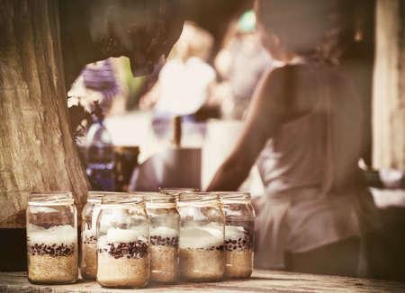 a jar stand: Coffee beans in sugar