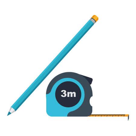 herramientas de construccion: Icono de la ruleta y el lápiz
