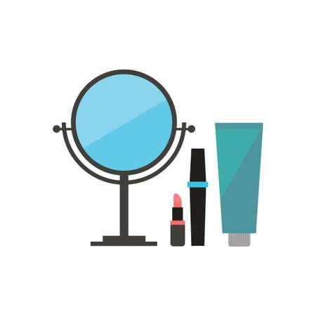 mirror: Icon beauty, mirror, cream, lipstick Illustration