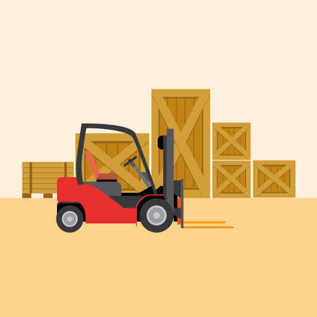 to unload: Forklift in Warehouse. Flat Illustration