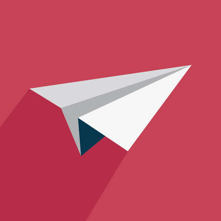 airplane: Airplane icon with shadow on a red background Illustration